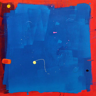 Anthony Hunter - Lovely Blue Square on Red Background with a Nice White Blob in the Bottom Left corner Painting