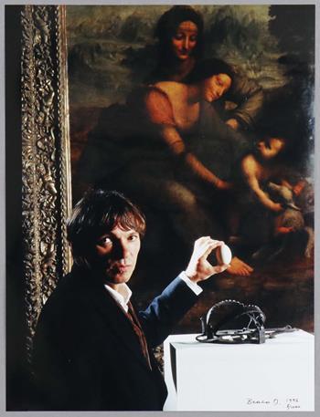 Braco Dimitrijevic - Selfportrait with an Egg and Leonardo's Madona (1996)